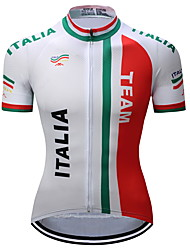 cheap -TELEYI Men's Short Sleeve Cycling Jersey Red and White Italy National Flag Bike Jersey Top Mountain Bike MTB Road Bike Cycling Moisture Wicking Quick Dry Limits Bacteria Sports Polyester Clothing