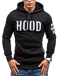 cheap -Men's Hoodie Letter Print Hooded Basic Sports - Long Sleeve Black Light gray Dark Gray M L XL XXL XXXL / Spring / Fall / Work