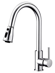 cheap -Kitchen faucet - Single Handle One Hole Chrome / Nickel Brushed Pull-out / ­Pull-down / Tall / ­High Arc Free Standing Contemporary / Standing Style Kitchen Taps