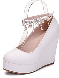 cheap -Women's PU(Polyurethane) Spring &  Fall Sweet Wedding Shoes Wedge Heel Round Toe Rhinestone / Buckle / Tassel White