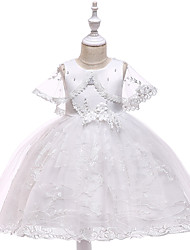 cheap -Princess Medium Length Wedding / First Communion Flower Girl Dresses - Lace / Tulle / Mikado Sleeveless Jewel Neck with Pearls / Appliques / Bandage