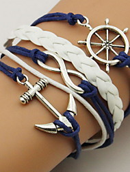 cheap -Women's Unisex Wrap Bracelet Leather Bracelet Rope Twisted Anchor Simple Basic Leather Bracelet Jewelry Dark Blue For Casual Going out