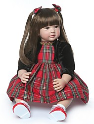 cheap -NPKCOLLECTION NPK DOLL Reborn Doll Girl Doll Baby Girl 24 inch Gift Hand Made Artificial Implantation Brown Eyes Kid's Girls' Toy Gift