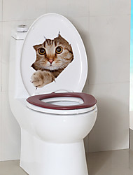 cheap -Cute Kitty Toilet Stickers - Animal Wall Stickers Animals Bathroom / Indoor