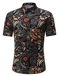 cheap -Men's Daily Active / Basic Cotton Shirt - Geometric Black / Short Sleeve