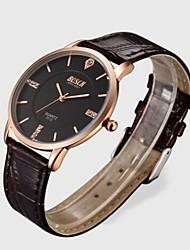 cheap -Men's Dress Watch Quartz Leather Black / Brown Water Resistant / Waterproof Analog Classic Casual Fashion - White Black