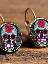 cheap -Women's Stud Earrings Lever Back Earrings Fancy Skull Calaveras Gothic Silver Plated Gold Plated Earrings Jewelry Rainbow For Festival 1 Pair