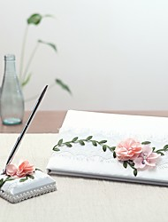 cheap -Guest Book / Pen Set Wedding With Satin Flower / Ruche Guest Book / Pen Set