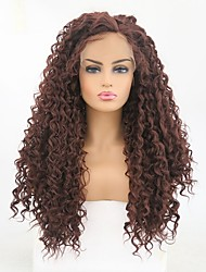 cheap -Synthetic Lace Front Wig Curly Matte Middle Part Lace Front Wig Long Dark Brown / Golden Blonde Synthetic Hair 24 inch Women's Party Women Synthetic Dark Brown