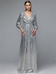 cheap -A-Line V Neck Floor Length Sequined Sparkle & Shine Prom Dress 2020 with Sequin