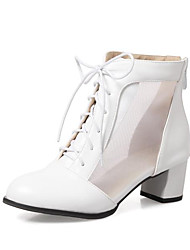 cheap -Women's Boots Block Heel Boots Chunky Heel Pointed Toe Booties Ankle Boots Sweet Minimalism Daily Mesh PU Ribbon Tie White Black Red / Booties / Ankle Boots / Booties / Ankle Boots