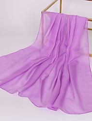 Недорогие -Жен. Классический Прямоугольный платок Шифон, Однотонный / Ткань