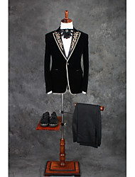 cheap -Patterned Tailored Fit Cotton / Polyester Suit - Peak Single Breasted One-button / Suits