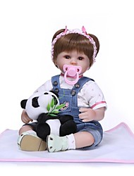 Недорогие -NPKCOLLECTION 18 дюймовый NPK DOLL Куклы реборн Кукла для девочек Девочки Подарок Ручная работа Искусственная имплантация Коричневые глаза с одеждой и аксессуарами