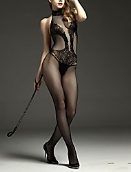 cheap -Women's Backless Super Sexy Ultra Sexy / Teddy / Bodysuits Nightwear Solid Colored Black One-Size / Halter Neck