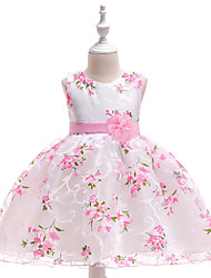 cheap -Princess Medium Length Wedding / Birthday / Pageant Flower Girl Dresses - Organza / Mikado Sleeveless Jewel Neck with Pattern / Print