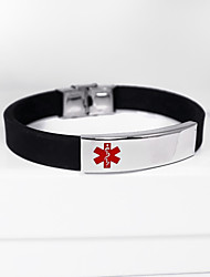 cheap -Personalized Silicone / Stainless Steel / Iron Bracelet / Bangle Friends Gift / Daily Wear -