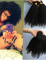 cheap -4 Bundles Brazilian Hair Kinky Curly Unprocessed Human Hair Natural Color Hair Weaves / Hair Bulk Bundle Hair Human Hair Extensions 8-28inch Natural Color Human Hair Weaves Odor Free Fashionable