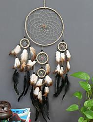 cheap -Boho Dream Catcher Handmade Gift Wall Hanging Decor Art Ornament Craft Feather 5 Circles Hemp Bead 75*20cm For Kids Bedroom Wedding Festival