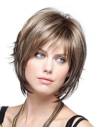 cheap -Synthetic Wig Loose Curl Short Bob Wig Short Light Brown Synthetic Hair 10 inch Women's Women Brown