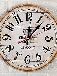 cheap -European Plastic & Metal Round Indoor AA Batteries Powered Decoration Wall Clock Mirror Polished No