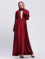 cheap -Adults' Women's A-Line Slip Ethnic Arabian Dress Abaya Kaftan Dress Jalabiya Muslim Dress Maxi Dresses For Halloween Daily Wear Festival Sequin Polyster Patchwork Long Length Dress 1 Belt