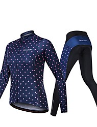 cheap -Realtoo Women's Long Sleeve Cycling Jersey with Tights Dark Navy Bike Clothing Suit Breathable 3D Pad Sports Spandex Classic Mountain Bike MTB Road Bike Cycling Clothing Apparel / Micro-elastic