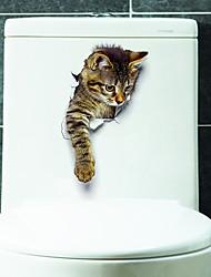 Недорогие -Животные Наклейки Наклейки для животных Наклейки для туалета, Винил Украшение дома Наклейка на стену Унитаз / Холодильник Украшение 1шт