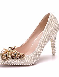 cheap -Women's PU(Polyurethane) Spring &  Fall Sweet Wedding Shoes Stiletto Heel Pointed Toe Rhinestone / Bowknot / Imitation Pearl White / Beige