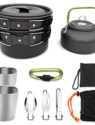 cheap -ARDI® Camping Cookware Mess Kit Camping Pot Dinnerware Set Pot Rack & Accessories Utensils Lightweight for 2 - 3 person Stainless steel Aluminium Alloy Outdoor Hiking Camping Black Orange Green