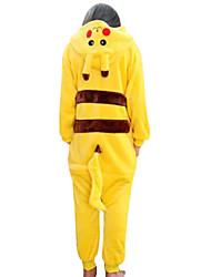 cheap -Kid's Kigurumi Pajamas with Slippers Pika Pika Animal Onesie Pajamas Coral fleece Yellow Cosplay For Boys and Girls Animal Sleepwear Cartoon Festival / Holiday Costumes