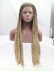 cheap -Synthetic Lace Front Wig Dreadlocks / Faux Locs Plaited Layered Haircut Braid Lace Front Wig Blonde Long Light Brown Synthetic Hair 24 inch Women's Women Ombre Hair Plait Hair Blonde Brown Sylvia