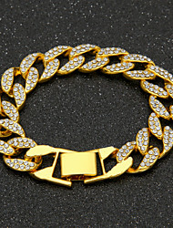 cheap -Men's AAA Cubic Zirconia Chain Bracelet Cuban Link Precious Luxury Fashion Hip-Hop Hip Hop Iced Out Gold Plated Bracelet Jewelry Gold / Silver For Daily Work / Imitation Diamond