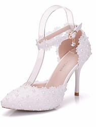 cheap -Women's Lace / PU(Polyurethane) Spring & Summer Sweet Wedding Shoes Stiletto Heel Pointed Toe Pearl / Buckle White