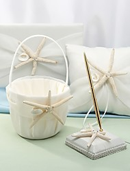 cheap -Wedding Guest Book / Pen Set / Ring Pillow Ring Pillows / Sets 53 Starfish and Seashell Satin