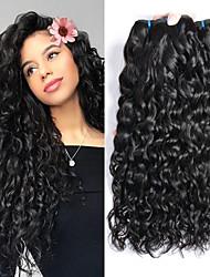 Недорогие -3 Связки Бразильские волосы Волнистые Не подвергавшиеся окрашиванию 300 g Человека ткет Волосы Аксессуары для костюмов Пучок волос 8-28 дюймовый Естественный цвет Ткет человеческих волос / Без запаха