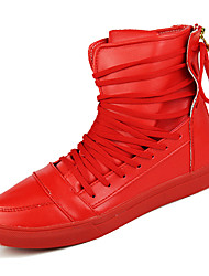 cheap -Men's Fashion Boots PU Spring &  Fall Casual Boots Non-slipping Mid-Calf Boots Black / White / Red