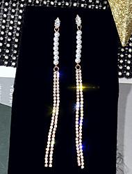 cheap -Women's White AAA Cubic Zirconia Drop Earrings Long Stylish European Pearl Gold Plated Earrings Jewelry Gold For Street 1 Pair