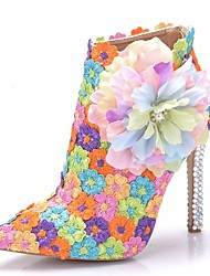 cheap -Women's Lace / PU(Polyurethane) Spring &  Fall Sweet Wedding Shoes Stiletto Heel Pointed Toe Booties / Ankle Boots Rhinestone / Satin Flower / Sparkling Glitter Rainbow / Camouflage