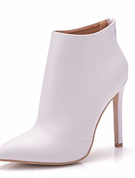 cheap -Women's PU(Polyurethane) Spring &  Fall Sweet Wedding Shoes Stiletto Heel Pointed Toe Booties / Ankle Boots White