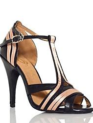 cheap -Women's Dance Shoes Leather Latin Shoes Splicing Heel Slim High Heel Customizable Black / Performance