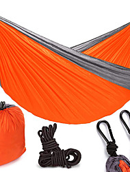 cheap -Camping Hammock Double Hammock Outdoor Portable Breathable Ultra Light (UL) Parachute Nylon with Carabiners and Tree Straps for 2 person Camping / Hiking Hunting Fishing Blue Green Orange 270*140 cm