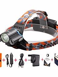 Недорогие -U'King Налобные фонари Фары для велосипеда Мини 3000 lm Светодиодная лампа LED 3 излучатели 4.0 Режим освещения с батарейками и зарядным устройством Мини Простота транспортировки / Алюминиевый сплав
