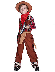 cheap -Westworld West Cowboy Cowboy Costumes Kid's Boys' Outfits Active Christmas Halloween Carnival Festival / Holiday Polyster Brown Carnival Costumes Plaid / Check