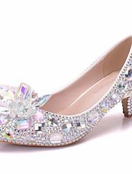 cheap -Women's PU(Polyurethane) Spring &  Fall Sweet Wedding Shoes Kitten Heel Pointed Toe Rhinestone / Crystal / Sequin Rainbow / Camouflage