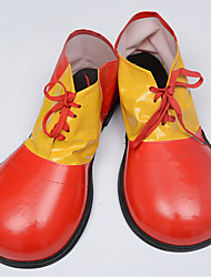cheap -Burlesque Clown Shoes Adults' Men's Funny & Reluctant Halloween Halloween Carnival Masquerade Festival / Holiday leatherette Red / Green Carnival Costumes Color Block
