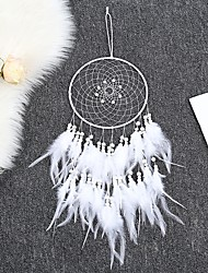 cheap -Boho Dream Catcher Handmade Gift Wall Hanging Decor Art Ornament Craft Feather Bead 65*20cm for Kids Bedroom Wedding Festival