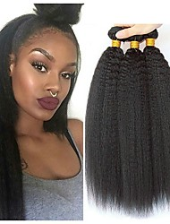 cheap -3 Bundles Hair Weaves Brazilian Hair kinky Straight Human Hair Extensions Remy Human Hair 100% Remy Hair Weave Bundles 300 g Natural Color Hair Weaves / Hair Bulk Human Hair Extensions 8-28 inch