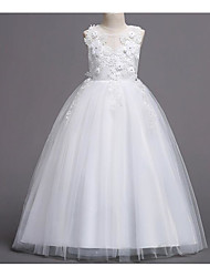 cheap -A-Line Floor Length Wedding / First Communion Flower Girl Dresses - Polyester / Polyester / Cotton Sleeveless Jewel Neck with Pendant / Lace / Embroidery