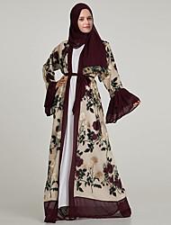 cheap -Adults' Women's A-Line Slip Ethnic Arabian Dress Abaya Kaftan Dress Jalabiya Muslim Dress Maxi Dresses For Halloween Daily Wear Festival Chiffon Embroidery Embroidery Long Length Dress Belt / Shawl